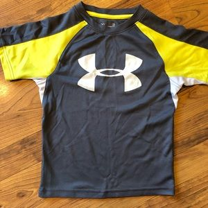 Under Armour grey and yellow t shirt